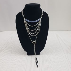 Guess Multi Strand Layered Necklace Silver Tone